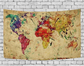 World Map Tapestry Wall Hanging red purple watercolor world map tapestry wall hanging abstract