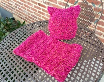 Cat Hat and Infinity Scarf set Hot Pink