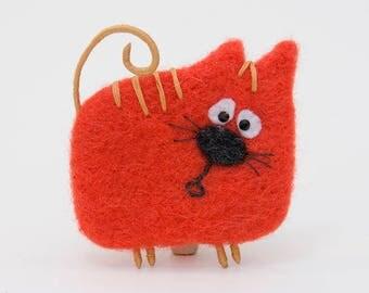 Cat Brooch, Cat Jewelry, Cute Animal Brooch, Felt Cat Brooch, Needle Felted Brooch, Woolen Brooch, Cat redhead, Cat as a gift, Draft