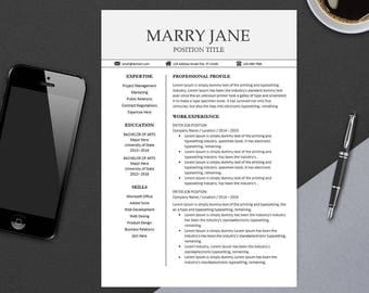 Modern Professional Resume Template for MS Word | Minimal Resume Design | CV Template Example Design | Instant Download | Easter MARRY