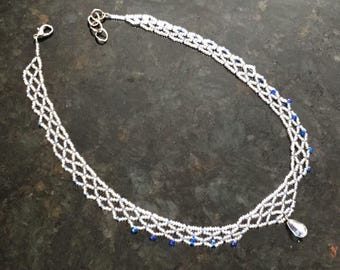 Something Borrowed something blue necklace with teardrop pendant