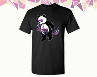 Drinking Panda T-shirt Panda Shirts Tees Galaxy Color Drinking Panda Shirt Mens T-shirt Mens Shirts Mens Tees Party Shirt Tees Gift For Him