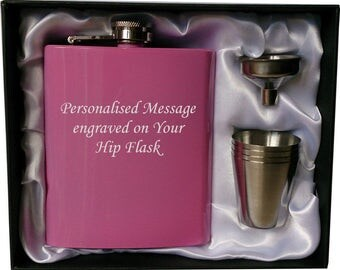 Personalised 7oz pink HIP FLASK in GIFT box with funnel and 4 shots (white liner)