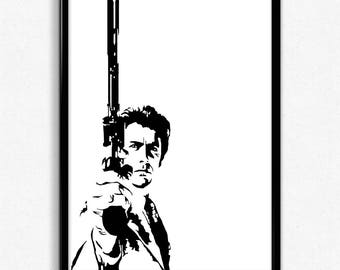 Dirty Harry Art Print - Super Detailed Giclee Print of Clint Eastwood as Dirty Harry - Multiple Sizes and Colors