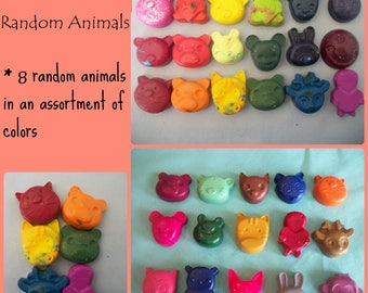 Variety of 8 Colorful Animal Crayons
