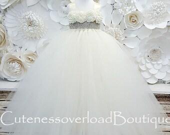 Ivory Flower Girl Tutu Dress-Ivory Tutu Dress-Ivory Girl Tutu-Ivory  Birthday Tutu-Ivory Wedding Tutu-Ivory Girl Tutu.