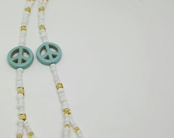 White & Gold Peace Beaded Barefoot Sandals (Pair)