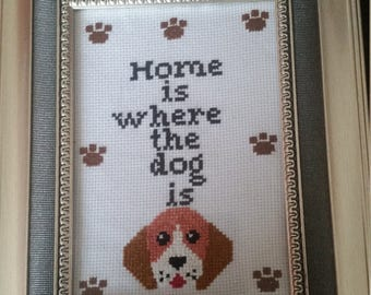 Home is where the dog is completed cross stitch.  (Framed)