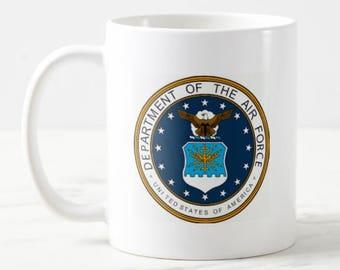 11oz U.S. Air Force Emblem Seal Coffee Mug Unique Coffee Mug, Gift For Him, Gift For Her, Gift Under 20, Mom Gift, Dad Gift