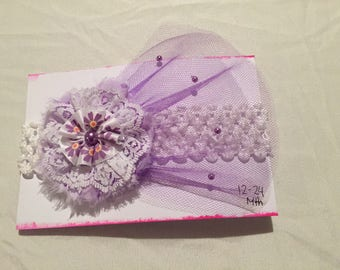 Handmade purple tule flower headband