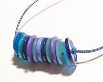 Blue buttons necklace