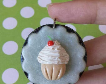 Polymer Clay Cupcake Pendant