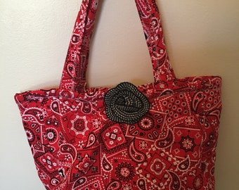 Red and black paisley qulited bag