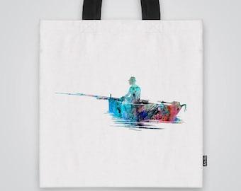 Fishing Tote Bag Shoulder Bag Market Bag Art Print