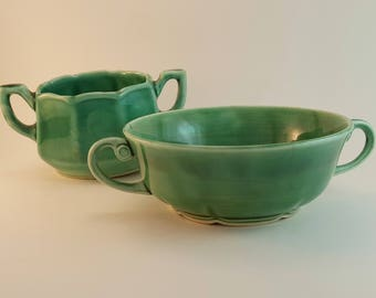 Green Glazed Pottery Sugar Bowl and Candy Dish