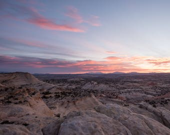 Pink Sky before sunrise Grand Staircase Escalante National Monument