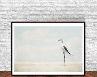 Heron Poster, Bird Poster, Coastal Decor, Beach Decor, Nature Decor, Nature Print, Printable Nursery Decor, Beach Poster, Printable Wall Art