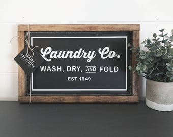 Wood Sign | LAUNDRY CO | Modern Farmhouse Sign | Hand painted | Wall Art | Laundry Room