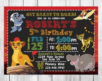 Lion Guard Invitation, Lion Guard Birthday, Lion Guard Invite, Lion Guard Party, Lion Guard Printable, Custom, FREE 4x6 Thank You Card