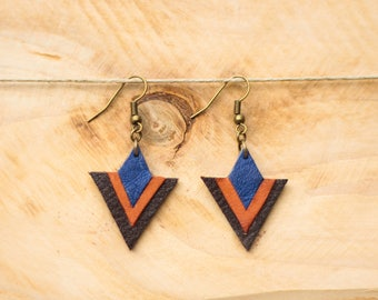 Timéo earrings Navy Blue, camel and brown leather