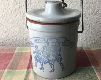 "Vintage Small Crock, Spirit of ""76, Nice Condition"