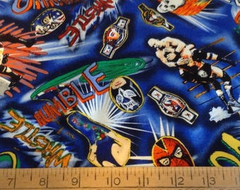 Wrestling  cotton fabric by the yard