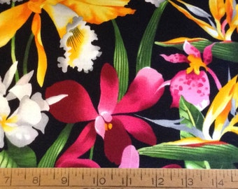 Tropical flowers cotton fabric by the yard