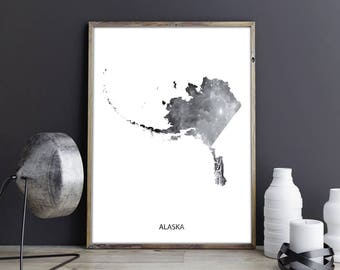 Alaska Art Alaska Wall Art Alaska Decor Alaska Photo Alaska Print Alaska Poster Alaska State Map United States Map Watercolor Map Print Map