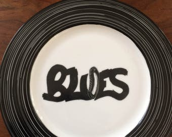 "Music series dish ""Blues"". Hand painted black & white with vinyl LP grooves design. Ready to ship."