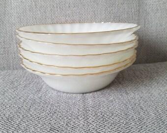Fire King Anchor Hocking Milk Glass Swirl with Gold Trim Salad Bowls