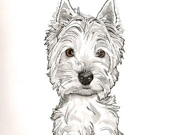 Custom Pet Portrait, Custom Dog Portrait, Draw my Dog, Pet Illustration, Westie Portrait, Westie Illustration