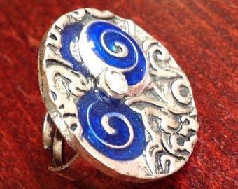 Blue swirl fashion ring SILVER metal adjustable