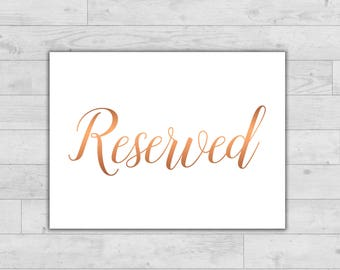 Reserved sign, Printable Reserved Table Sign, Wedding Reserved Sign, Reserved card recetion, Printable Wedding Sign, Wedding place card