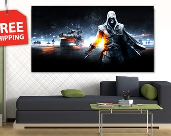"""Canvas painting """"Assassin's creed"""". Printing art. Wall Art decor Poster Print Flover Extra Large Wall Decor. Moderm home decor FREE SHIPPING"""