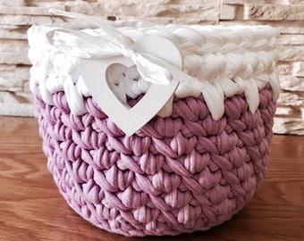 Pink Storage Basket Crochet for Cosmetics