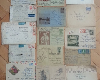Package from 12 old envelopes with stamps and letters, vintage - from 1926 to 1958