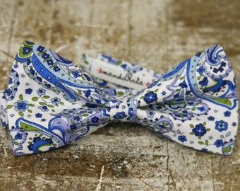Pajarita azul estampado cachemire floral