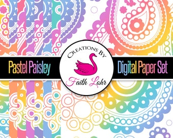Pastel Paisley Digital Papers for Graphic Design and LLR Marketing Instant Download