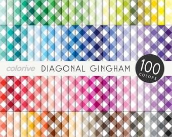 Gingham digital paper 100 rainbow colors diagonal gingham picnic bright pastel printable scrapbooking paper
