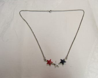 Silver chain with red white and blue stars costume jewlery