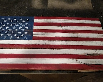 Rustic Small American Pallet Wood Flag, Reclaimed Wood