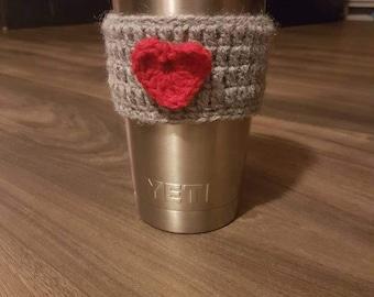 Heart coffee cozy