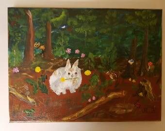 bunny enjoying dandalion