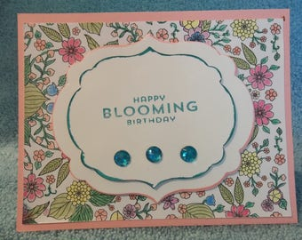 Stampin' Up! Watercolor flower print - Happy Blooming Birthday with Diecut label - Multi-color Handmade Greeting Card
