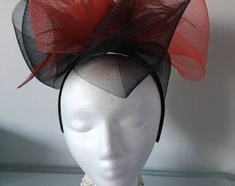Red and Black Fascinator, Derby Fascinator, Wedding Fascinator, Tea Party Fascinator, Church Hat, Derby Hat
