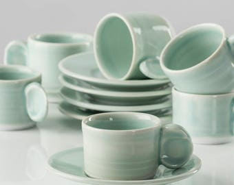 Celadon Espresso Cup With Saucer