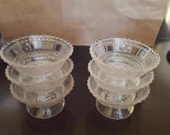 6 Pressed Glass Dessert Bowls