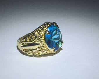 Cubic Zirconia Blue Gemstone Gold Ring Size 6