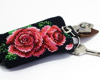 Bead-embroidered beaded key holder key case Roses pink red black flower floral pattern hand embroidery