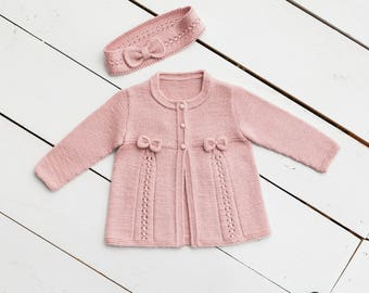 Hand knitted baby cardigan and headband. Baby sweater. Baby jacket. Baby set